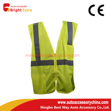 Mesh Fluorescent Vest With Pockets Zipper