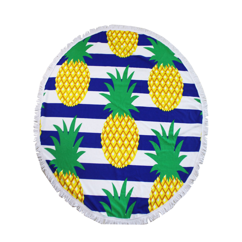 huge white logo round beach towels pineapple print