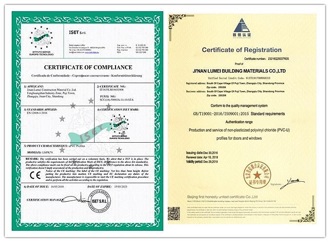 Certification of pvc Profiles