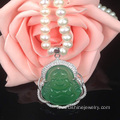 925 Sterling Silver Jade Pendant Real Pearl Necklace Jewelry