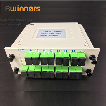 Plc Fiber Optic Splitter With 1X16 Sc/Apc Green Connector