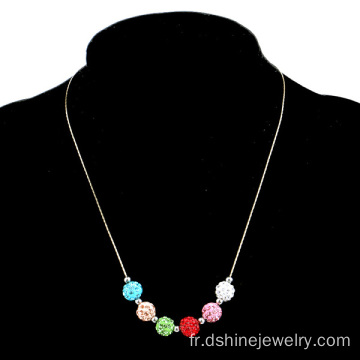 Multi couleur argile Shamballa Choker perles Chain Necklace