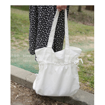 Fresh drawstring canvas single shoulder bag