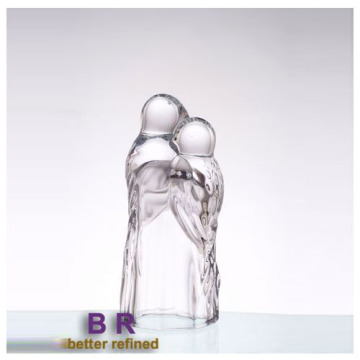 Glass Couple Of Parrot Statue For Home Decoration