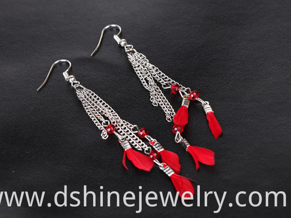 Tassel Feather Earrings For Lady