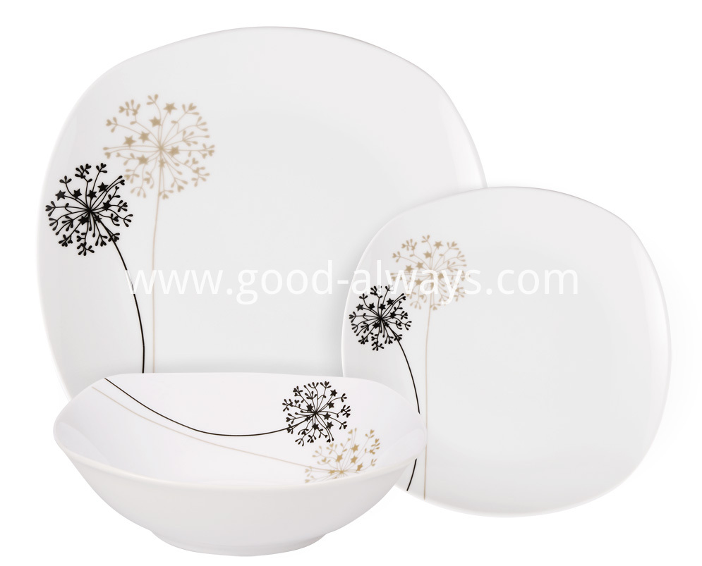 Square Porcelain Tableware Dinner Set