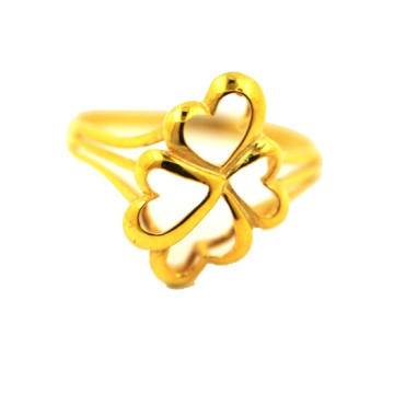 Lowest Price for Bouquet K Gold Ring Lucky Leaf Four Leaf Clover Ring supply to Colombia Supplier