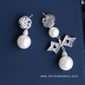 925 Silver Zircon Pearl Studs Alloy Butterfly Shape Earrings