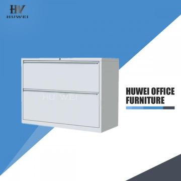 Lateral lockable double drawers steel storage cabinet