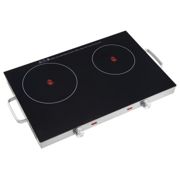 2800W Black Double Portable Cooktop Countertop Burner