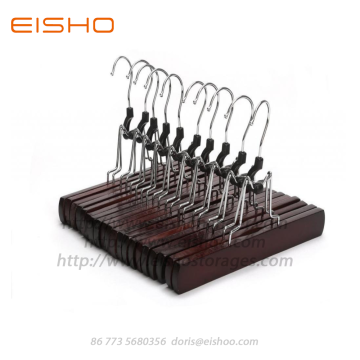 Hot selling attractive price for Wood Hangers For Clothes EISHO Dark Walnut Wooden Clamping Trouser Hangers export to France Exporter