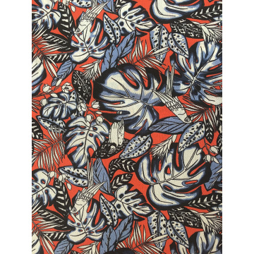 Tropical Leaves Polyester Bubble Chiffon Printing Fabric