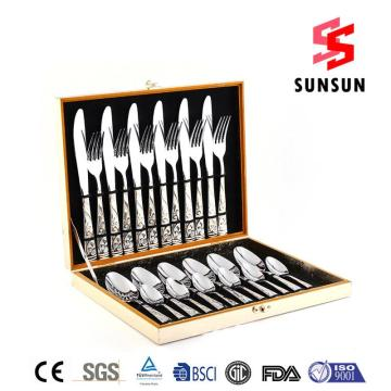 24pcs Stainless Steel Tableware Set Wooden Box