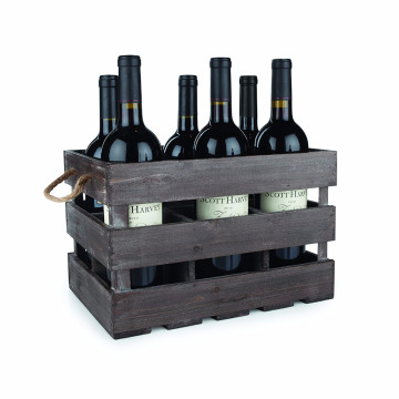 6 Bottle custom screen printing logo pine wine box wooden wine packing gift box