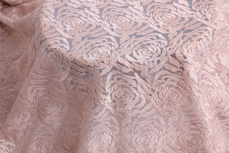 Newest Rose Flower Embroidery Fabric