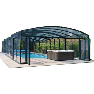 Swimming Glass Screen Roof Enclosure Electric Pool Cover