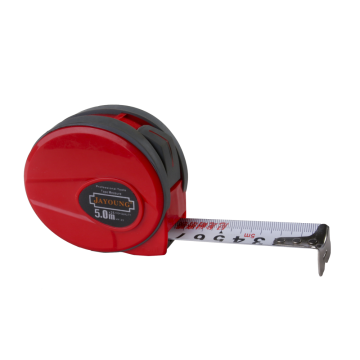 5m/25mm measuring tape red case grey  rubber