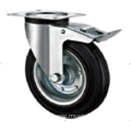 80mm European industrial rubber  swivel caster with brake