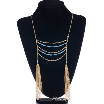 Multilayer Crystal Beaded Necklace Chain Tassel Necklace