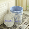 Handmade willow woven laundry basket with lid home storage