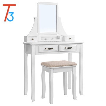 2 Large Sliding Drawers, Removable Makeup Organizer for Brushes Nail Polishes, Dressing Table with Mirror and Stool White