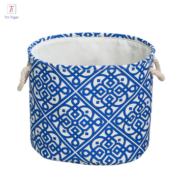 OEM Waterproof jute collapsible laundry basket 100% Cotton foldable waterproof basket storage for laundry