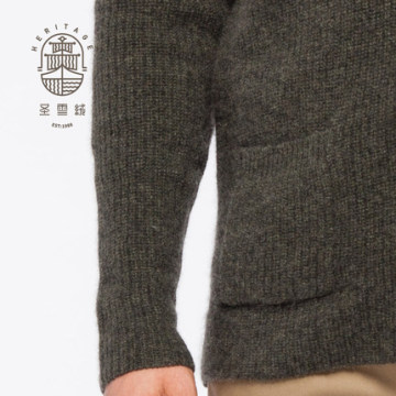 Men's shawl neck wool cashmere cardigan