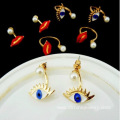 Pearl Earrings Dangle Alloy Evil Eye Gold Pearl Earrings