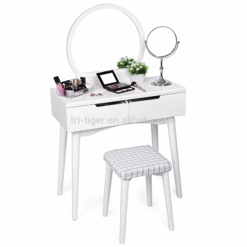 2 Large Sliding Drawers Makeup Modern Dressing Table with Stool