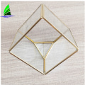 wholesale diy gold geometric glass cube plant terrariums
