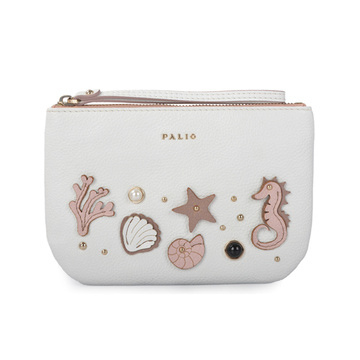 Celine Two-tone Leather Zip Cosmetic Clutch Pouch