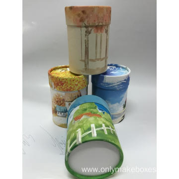 Full Color Printing Round Candle Packaging Box