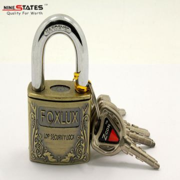 China for Square Thick Brass Padlock 50MM Antique Brass Coating Padlock supply to Estonia Suppliers