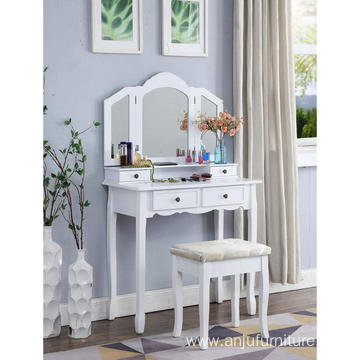 White Wooden Vanity Makeup Table and Stool Set Cheap Dressing Table Designs