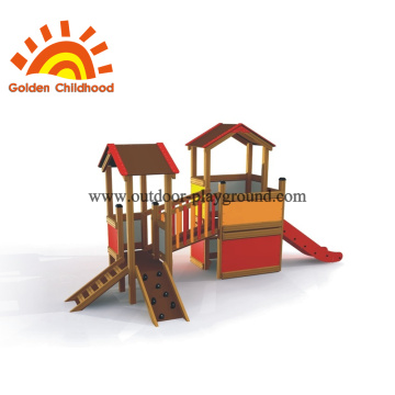 Outdoor play structure wood with slide