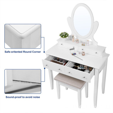 Vanity Table Set with Mirror and 4 Drawers, Wooden Makeup Dressing Table with Large Stool, Gift for Women Girls, White