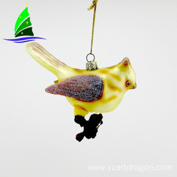 yellow glass hanging bird Christmas ornament