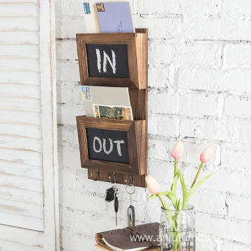 Country Rustic Wood Wall Mounted Erasable Chalkboard Small Decorative Hanging Storage plunter box Shelf Rack