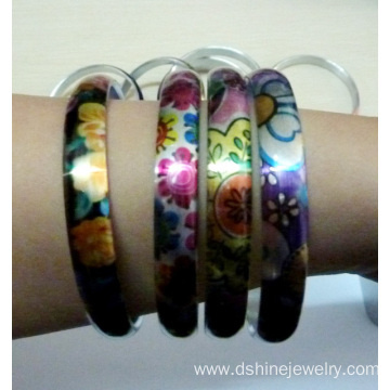 Shiny Silver Aluminum Blanks Couples Bangle Printed Bracelet