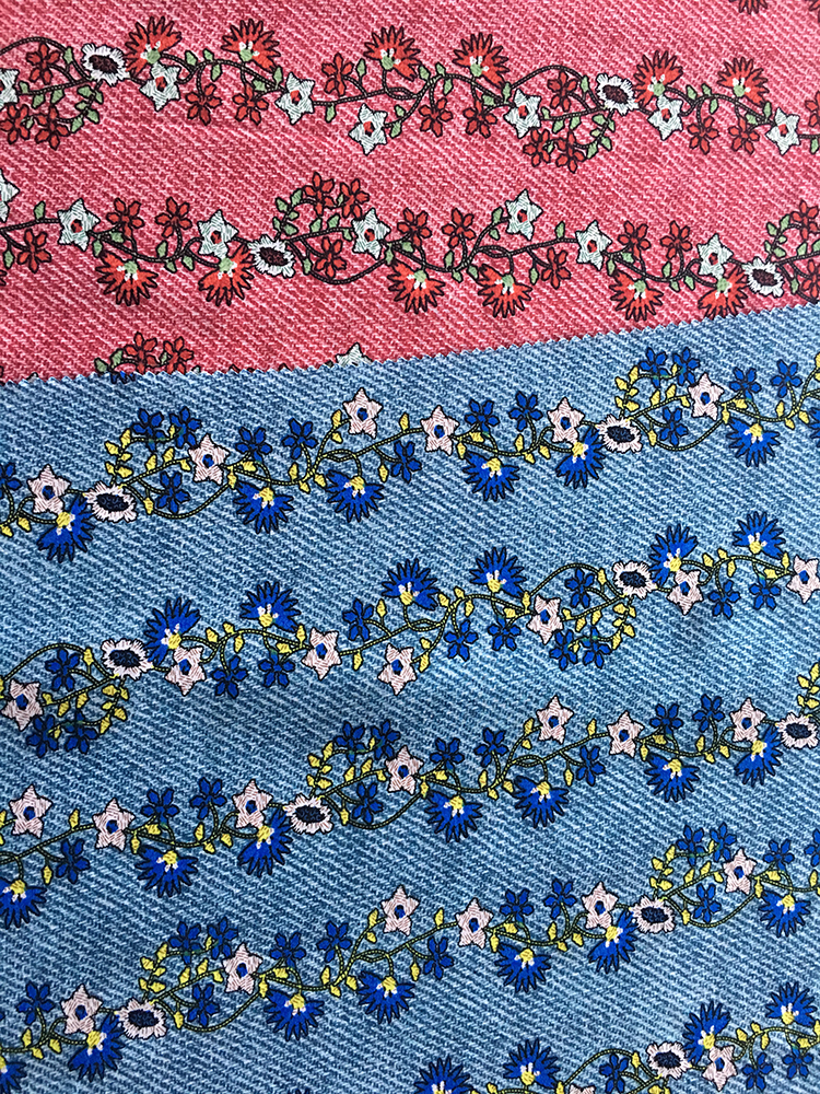 Denim Flower Rayon Poplin shuttle 45S Printing Fabric