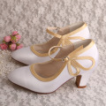 Comfortable Court Shoes for Women White Satin