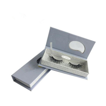 Silver Glitter Eyelash Box Custom Magnetic Paper
