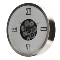 14 Inch Metal Wall Clock with Moving Gears