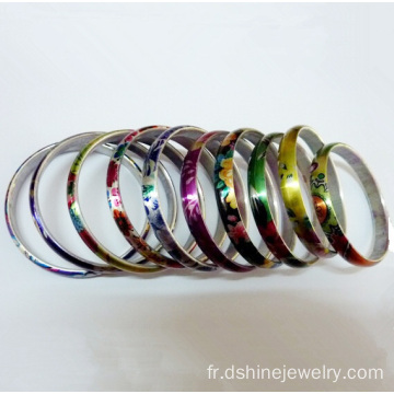 En aluminium argenté brillant flans Couples Bangle Bracelet imprimé