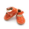 Changeable PU Leather Orange Hollow Squeaky Shoes Sandals