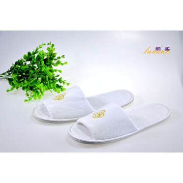 Hotel Velour Velvet Embroidery Open Toe Slipper