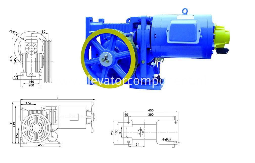 AC220V Elevator Geared Traction Machine