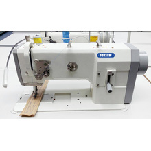 Single needle flatbed lockstitch sewing machines with large vertical hook (Unison feed)
