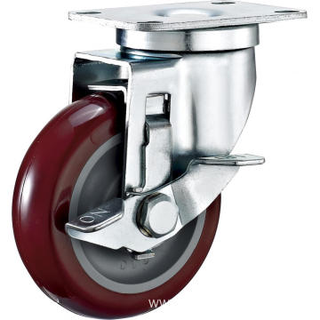 4'' Swivel Industrial PU Caster With PP Core With Side Brake