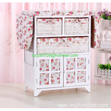 Wood Wicker Ironing Cabinet Board Center with Baskets